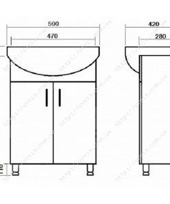 Тумба Эко напольная Т-1 с умывальником Изео 50 чертеж