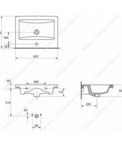 Умывальник мебельный Cersanit Комо 60 чертеж